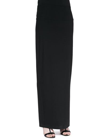 Fold-Over Maxi Skirt, Black