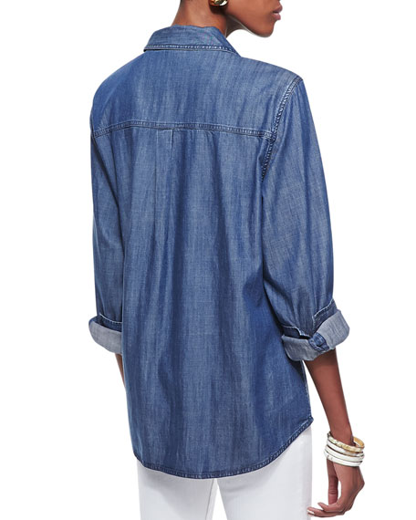 Long-Sleeve Denim Shirt, Classic Blue