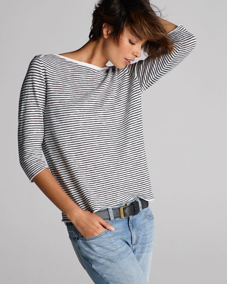 Striped 3/4-Sleeve Cross-Shoulder Top, Petite