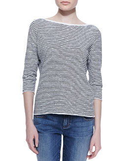 Eileen Fisher Striped 3/4-Sleeve Cross-Shoulder Top, Petite