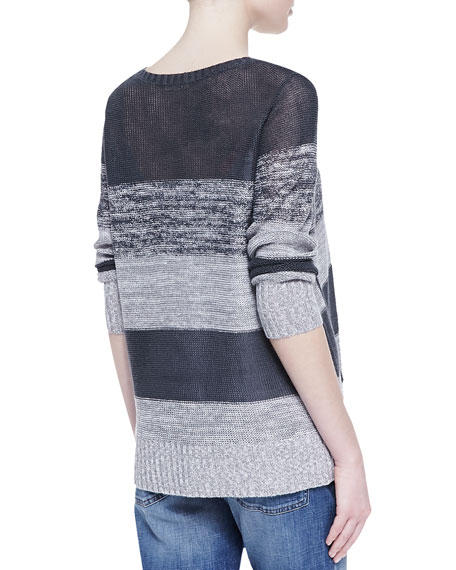 Blurred Striped Organic Linen Top, Women's