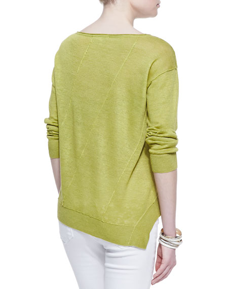 Asymmetric-Seam Linen Sweater
