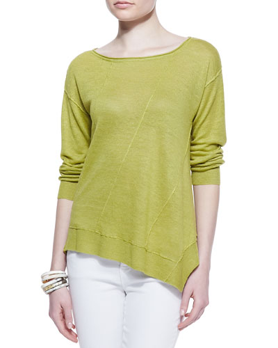 Eileen Fisher Asymmetric-Seam Linen Sweater, Women's