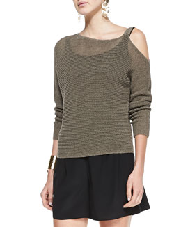 Eileen Fisher Ribbed Linen Cold-Shoulder Top