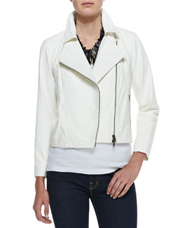 Eileen Fisher Drapey Short Leather Biker Jacket