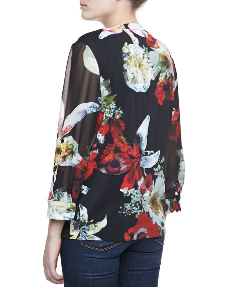 Colby Printed Blouse, Blossom Montage