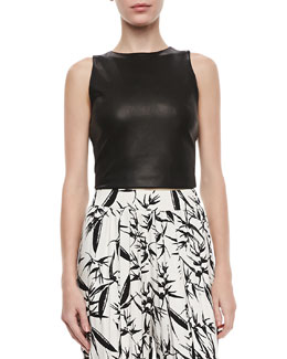 Alice + Olivia Lorita Leather Crop Top
