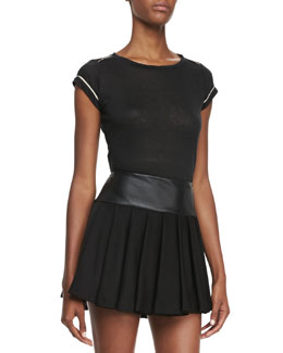 Alice + Olivia Tran Piped-Trim Tee, Black