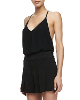 Alice + Olivia Guenda Leather-Strap Tank