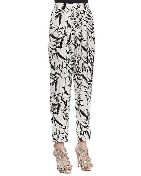 Printed Pleated High-Waist Pants
