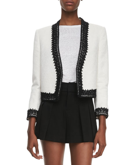 Amaya Embroidered-Trim Blazer