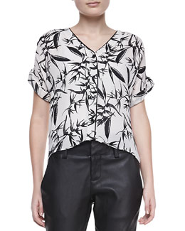 Alice + Olivia Eugenie Printed Short-Sleeve Blouse