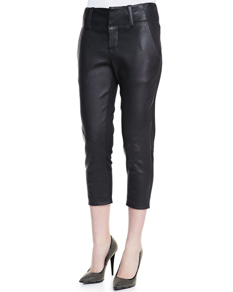 Anders Cropped Leather/Ponte Pants