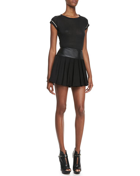 Leather-Waist Pleated Skirt