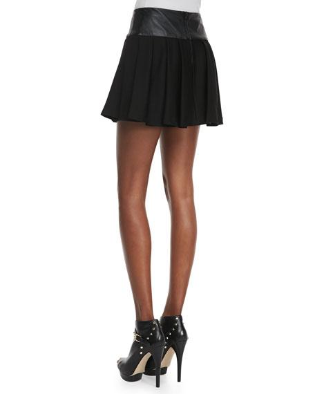 Leather-Waist Pleated Skirt