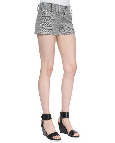 Diamond-Print Cady Cuff Shorts