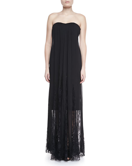 Francesca Lace-Inset Strapless Maxi Dress