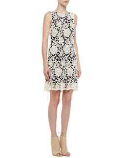 Alice + Olivia Jolie A-Line Lace-Overlay Dress