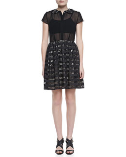 Alice + Olivia Anita Peter-Pan-Collar Eyelet Dress