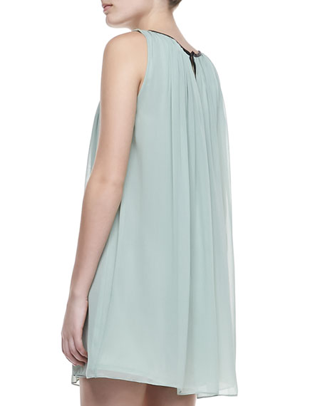 Murda Leather-Trim Shift Dress