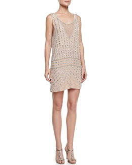 Phoebe Couture Sleeveless Beaded Sheath Dress