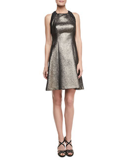 Phoebe Couture Halter Fit-&-Flare Breaded Dress