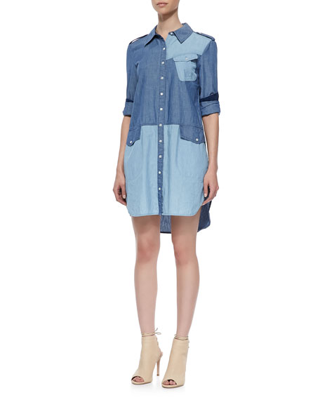 Catalina Bicolor Denim Shirtdress