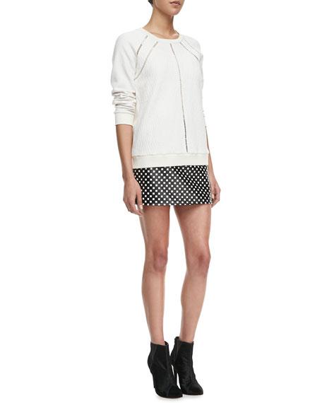 Block-Print Leather Skirt