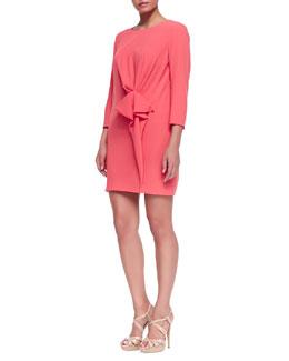 Paule Ka Crepe Gathered-Detail Long-Sleeve Dress