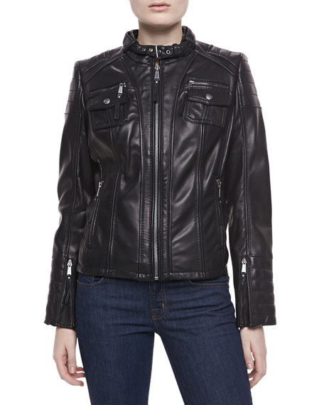 Double-Pocket Leather Jacket