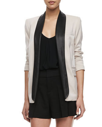 Two-Tone Leather-Collar Blazer