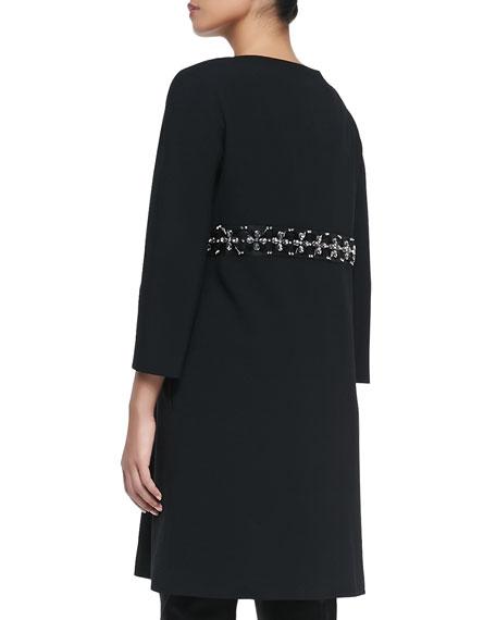 Beaded-Waist Crepe Coat