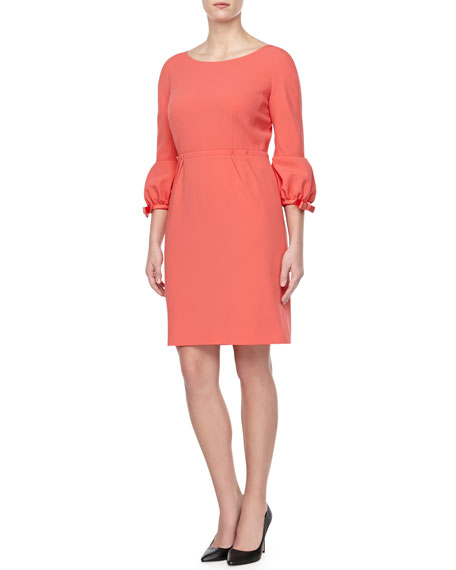 Poof-Cuff Crepe Dress, Coral
