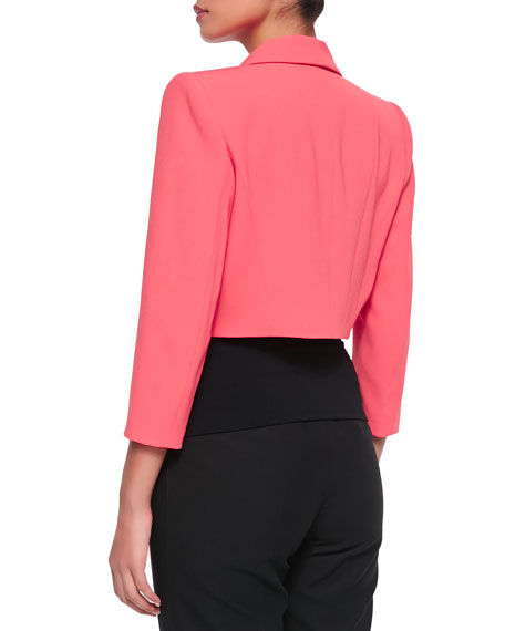 Cropped Crepe Jacket, Coral
