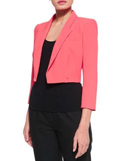 Paule Ka Cropped Crepe Jacket, Coral