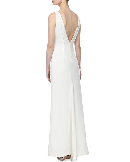 Beaded Crepe Gown, Blanco