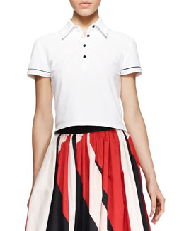Alice + Olivia Miller Cropped Polo Shirt