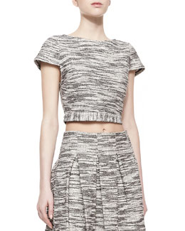 Alice + Olivia Elenore Short-Sleeve Tweed Crop Top