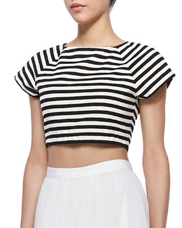 Alice + Olivia Connely Striped Crop Top