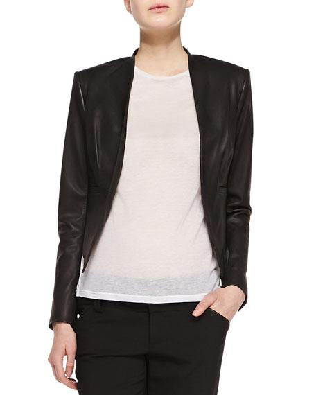 Mabel Cropped Leather Jacket