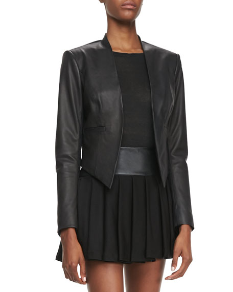 Mabel Cropped Leather Jacket