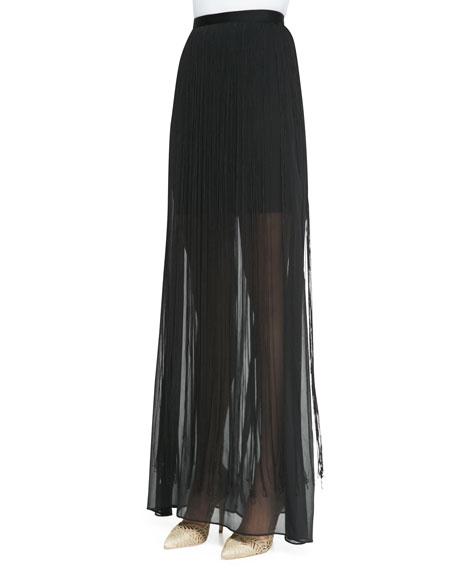 Caitlin Fringe-Overlay Maxi Skirt