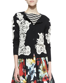 Alice + Olivia Cherrie Embroidered Lace Cardigan