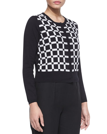 Grid-Design Cropped Cardigan