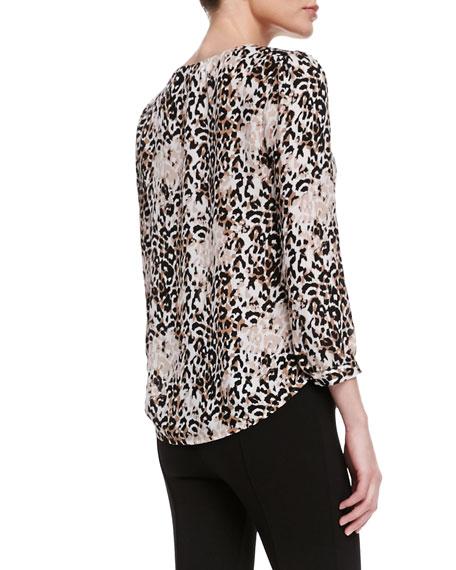 Pearline Silk Leopard-Print Blouse