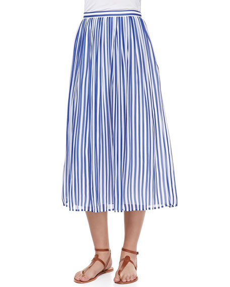 Fola Striped Silk Midi Skirt