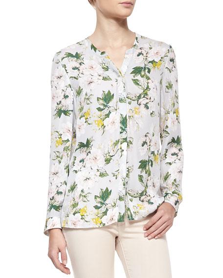 Divitri Floral-Print Silk Blouse