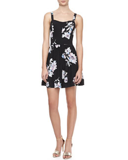 Joie Latelle Sleeveless Floral-Print Silk Dress