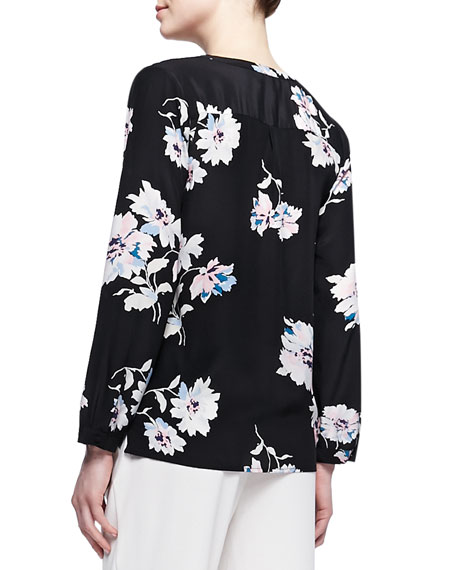Michi Floral-Print Silk Blouse