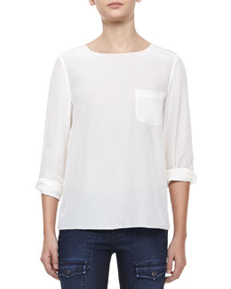 Joie Florence Jagged-Trim Silk Top